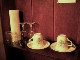 REAL cups, saucers and glasses. No styrofoam and cardboard here.