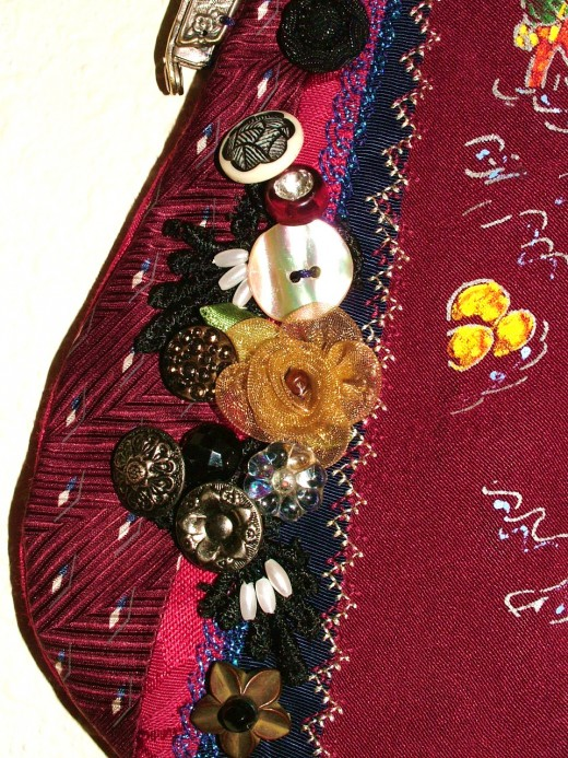 Closeup of embellishment and stitching