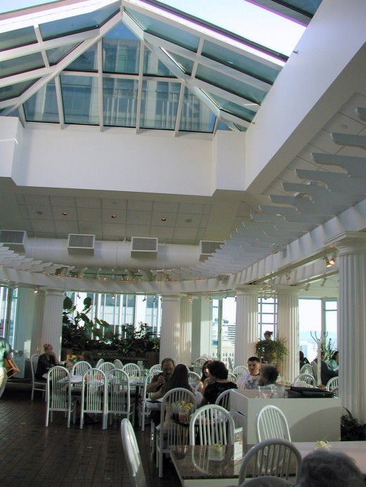 The retractable roof at The Garden Restaurant offers an outdoor experience, indoors.