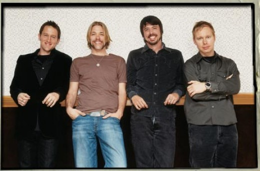 My idea of a perfect birthday is a Foo Fighters concert. Pictured from left to right are band members: Chris Shiflett,Taylor Hawkins,Dave Grohl and Nate Mendel. Oh Yeah!!!!