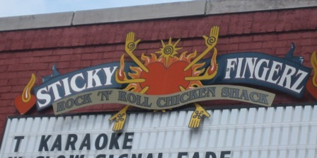 Sticky Fingers Sign - Downtown Karaoke Tuesday Nights