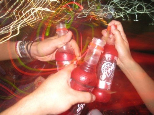 My and my friends drinking Sting Energy Drink