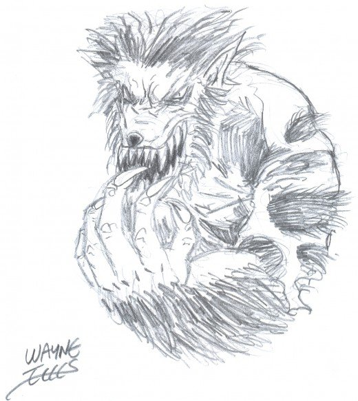 How to draw a wolfman.  Wolfman art Copyright Wayne Tully. 2010.