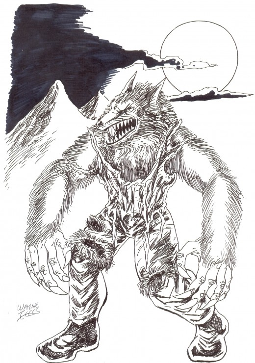 How to draw a wolfman werewolf.  Werwolf art Copyright Wayne Tully 2010.