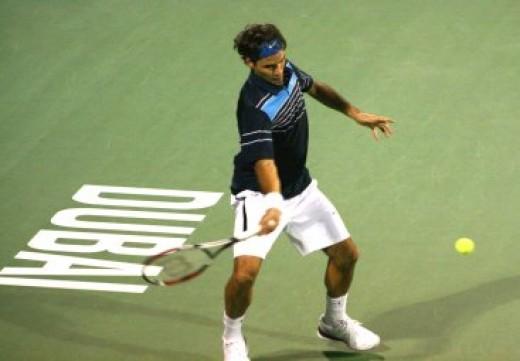Roger Federer at the Dubai Tennis Championships