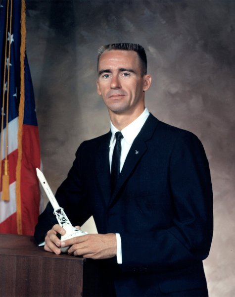 Walter Cunningham's official NASA portrait.  Cunningham was selected as part of the third group of astronauts in 1963, and flew on the Apollo VII mission in 1968.  Image courtesy NASA and Wikipedia.