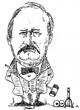 "Caricature of Svante Arrhenius.  Note the ""+"" and ""-"" symbols on the croquet balls; these refer to ""ionic chemistry,"" the idea that won Arrhenius the 1903 Nobel Prize for Chemistry."