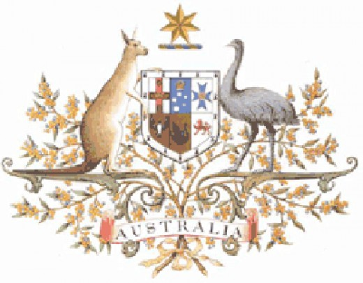 The Australian Coat of Arms features a Kangaroo and an Emu