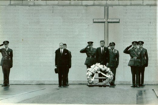 President John F Kennedy lays a wreath at Arbour Hill to honour those executed after the 1916 Rising