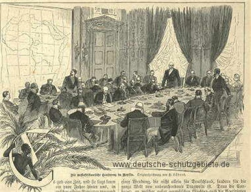 Caricature of the Berlin Conference. Note black man peering at proceedings from behind a plant at left. Image from Wikipedia