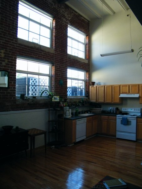 The kitchen, as seen from living area. I have since acquired a table.