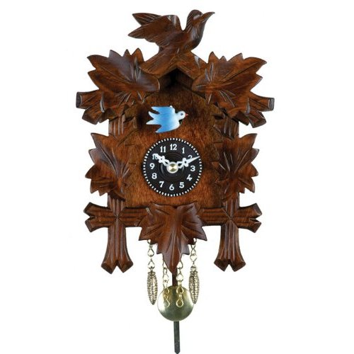 River City Clocks Quartz Novelty Cuckoo Clock - Five Leaves & One Bird with Moving Blue Bird