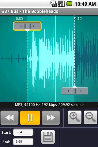 RingDroid's MP3 cuttings creen, screenshot from AppBrain
