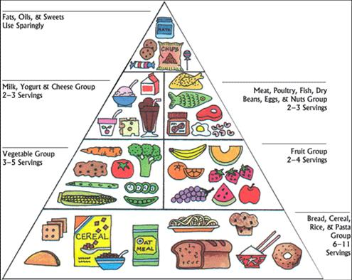 Note which foods are at the top (use very sparingly)
