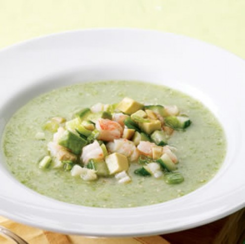 Tomatillo Gazpacho with Avocado and Shrimp
