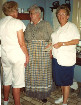 My mother and aunt talking to one of the costumed workers at Old World Wisconsin