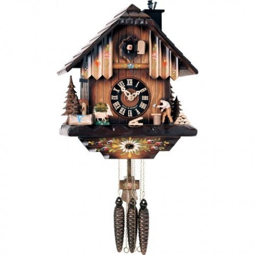 River City Clocks One Day Musical Cuckoo Clock with Woodchopper Chopping Wood and Animated Chimney Sweeper