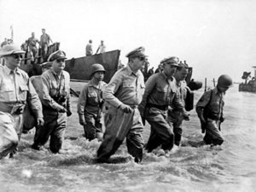 Gen. Douglas MacArthur lands at Leyte on October 20, 1944.