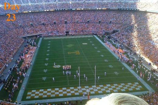 Today Matthew, Ashley, Emily, and I went to the Martin Skyhawks @ UT Vols game.  Tailgating and Football is a phenomenal combination! I forgot to bring my camera, so this is a crappy Blackberry pic. Derek Dooley won his first game as Head Coach 50-0.