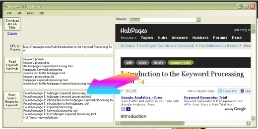 The keyword Processing Tool finds itself listed on Google