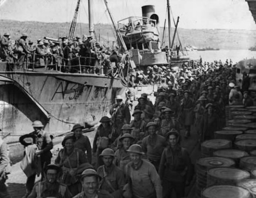 Troops disembarking prior to moving up to the front