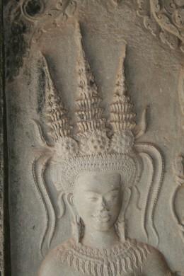 Apsara head showing intricate hair style