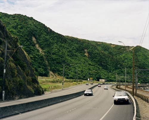 The same view today - you can still see the landslide and it will move and block SH2 one of only 2 main roads north from Wellington in the next earthquake (c) GNS Science