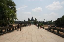 View of Angkor Wat across the western causeway