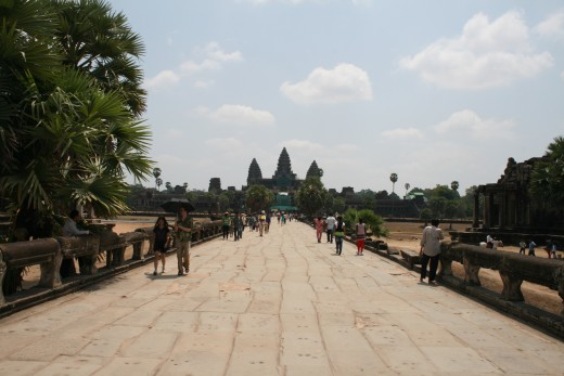 View of Angkor Wat across the western causeway