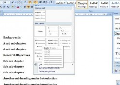 Chapter and Sub Chapter Numbering in Word 2007: How to insert chapter number in Word 2007