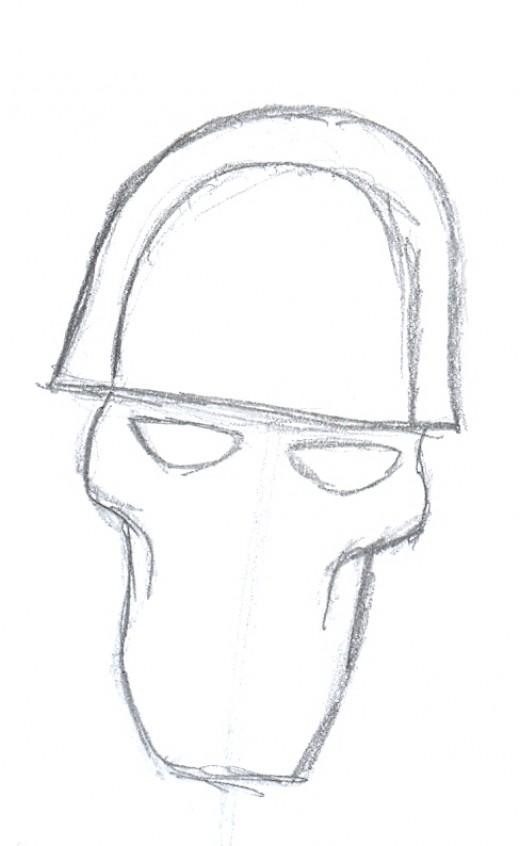 Draw a war skull tattoo.
