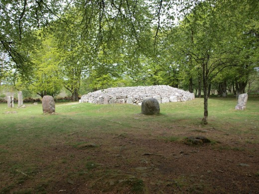 The burial chamber were surrounded by a stone circle.