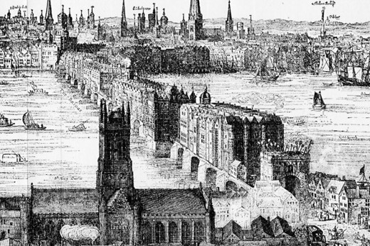 River Thames and London Bridge, 1616