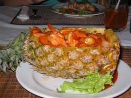 Banana Leaf Restaurant on Canal Road offers amazing cuisine such as prawns in a pineapple basket.