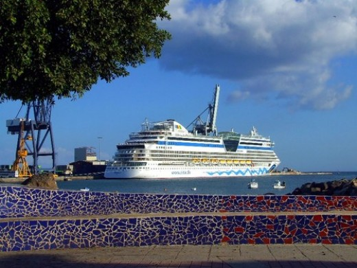 The Cruise ship Aida arrives on Thuesdays