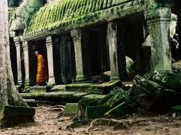Monk, Ta Prohm , Angkor, Cambodia
