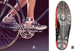 bike shoes in picture A - and the cleat  in picture B