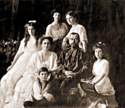 black and white photo of the Romonov Family
