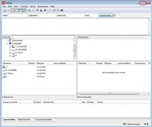 Diagram 2. The FileZilla GUI