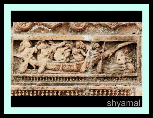 Sage 'Rishyashringa' being taken away from his father's hermitage speedily  by Courtesans. A scene from Ramayana .The shape  is different from the ferry-boat Krisna used.