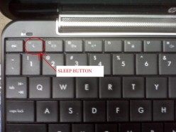 Location of the Sleep Button on an HP mini 1000