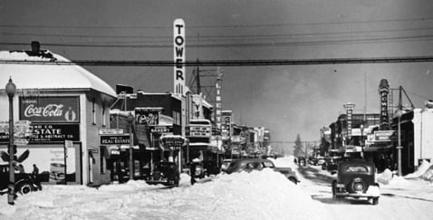 The Tower Theater in the 1940s (image from Deschutes County Historical Society)