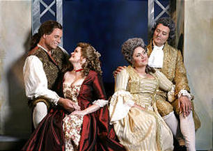 "Figaro (Kristopher Irmiter), Susanna (Suzanne Woods), the Countess Almaviva (Kara Shay Thomson) and Count Almaviva (Darrell Babidge) in Utah Festival Opera's production of ""The Marriage of Figaro."""