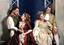 "Figaro (Kristopher Irmiter), Susanna (Suzanne Woods), the Countess Almaviva (Kara Shay Thomson) and Count Almaviva (Darrell Babidge) in Utah Festival Opera's production of ""The Marriage of Figaro."""