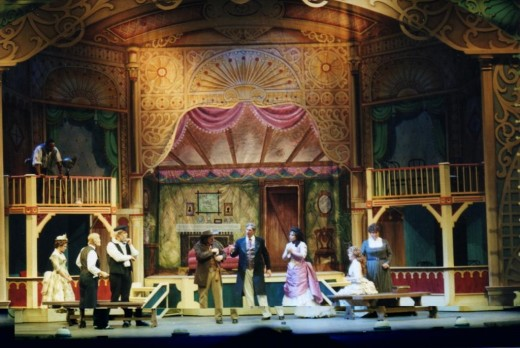 Notice the grandeur of the sets that are part of the production at the Ellen Eccles Theatre.