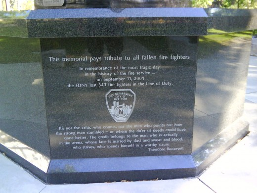 Fire Fighter's Memorial, September 11, 2001 tribute.