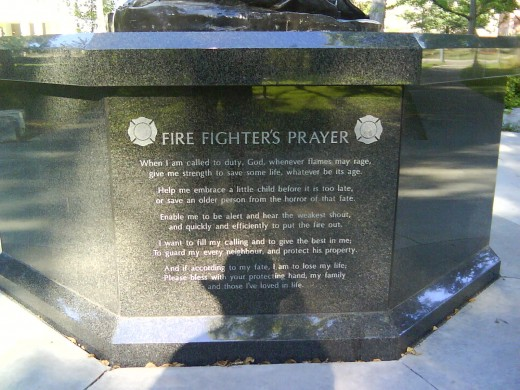 Fire Fighter's Memorial, Fire Fighter's Prayer