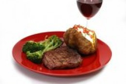 Your meal will look ALOT like this, except you will have 1/2 a potato, and whatever veggie you chose and onions.