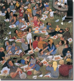 Feeding the Five Thousand, by Eularia Clarke, from www.methodist.org.uk