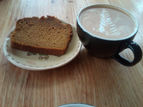 Lovely latte and pumpkin bread at Jackson's Corner in Bend, Oregon